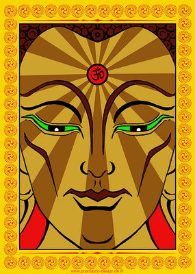 maitreya buddha - ink & digital art - print on canvas