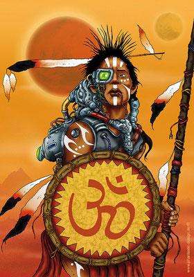 fantasy art - digitaldruck auf leinwand -poster - title: lightwarrior - ink & digital art