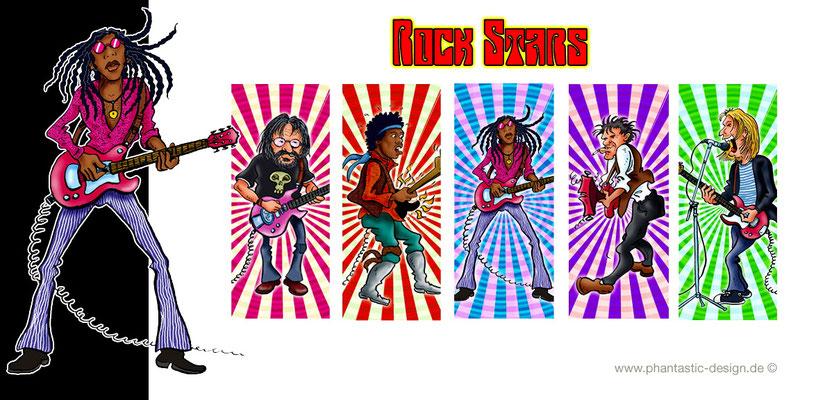 rock stars - ink & digital art - lighter design
