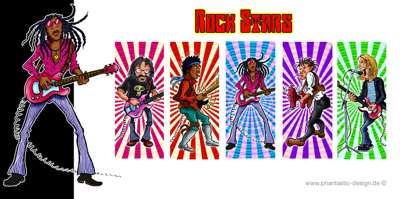 rock stars - ink & digital art - lighter design