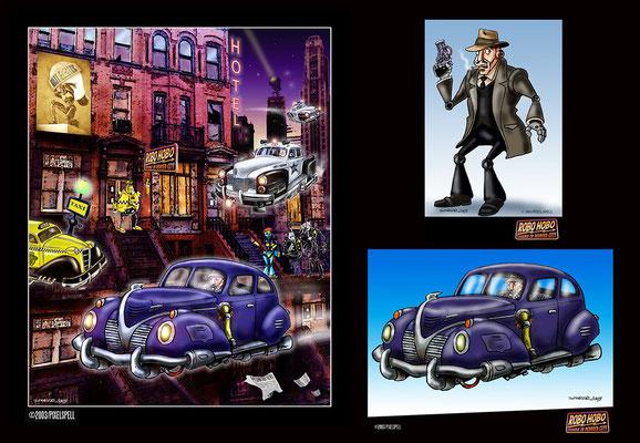 animation - robo hobo - matte painting layout & figures - ink & digital art