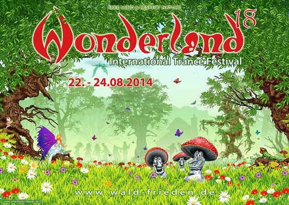 festival poster & flyer - title: wonderland - ink & digital art