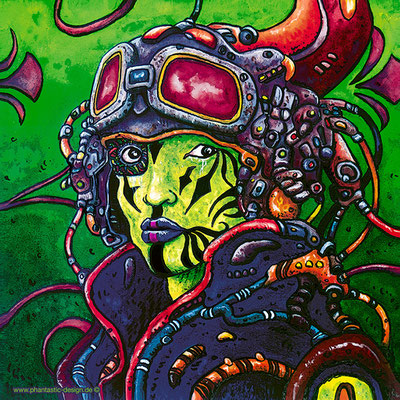 science fiction art - illustration - digitaldruck auf leinwand - poster - space pilot - ink & different colours
