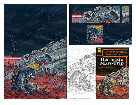 science fiction art - illustration - title: the last marstrip - ink & different colours - bookcover