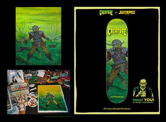 skateboard design - title: swamp warrior - (creature + juxtapox contest)