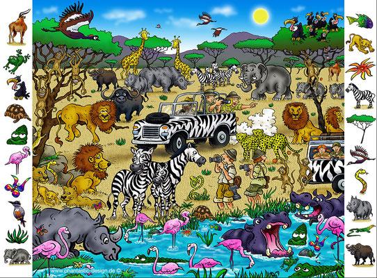 safari - ink & digital art - puzzle