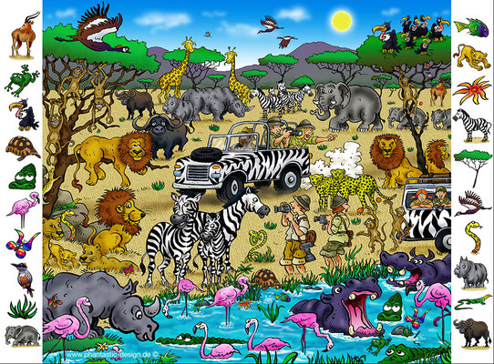 puzzle - title: safari - ink & digital art