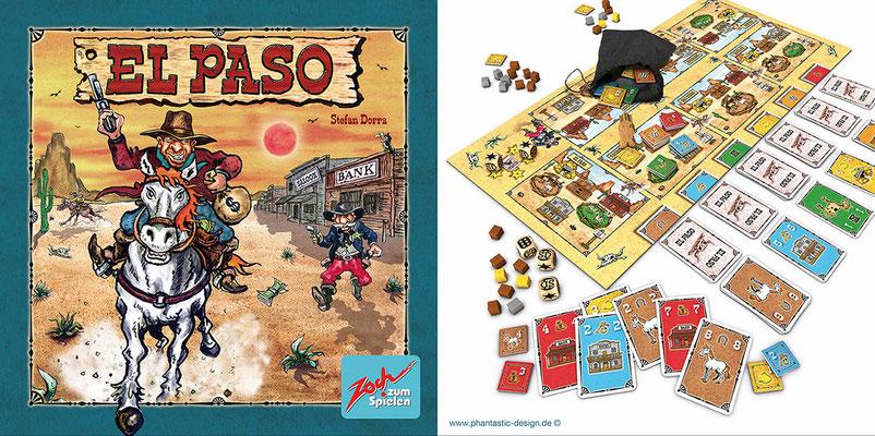 game design - title: el paso - inks & watercolour