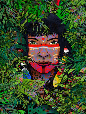 fantasy art - digitaldruck auf leinwand - poster - title: pao- ink & digital art
