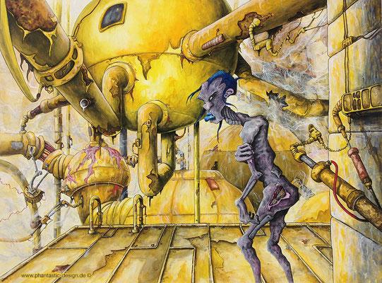 science fiction art - illustration - title: no escape - ink & different colours - free artwork