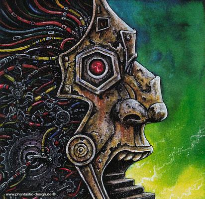 science fiction art -illustration - title: robot head - ink & different colours