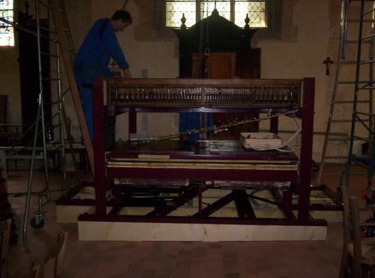 Etape 1 : reconstruction de la charpente -  orgue L.Debierre 1888 (Tillières-sur-Avre- Eure)