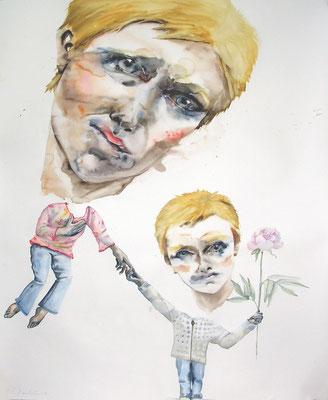 Double autoportrait à la pivoine