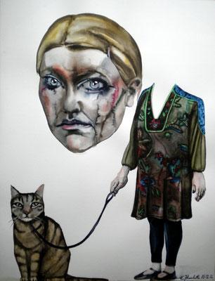 Autoportrait au chat en laisse