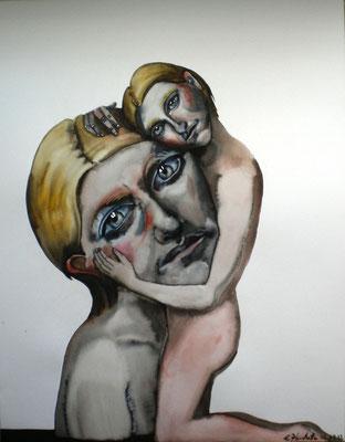 Double autoportrait sorti de terre