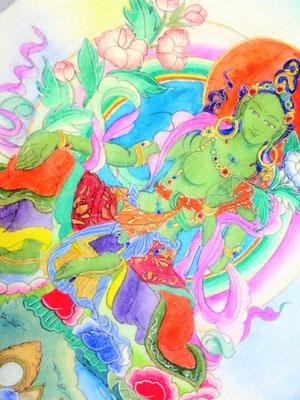 グリーンターラ仏画