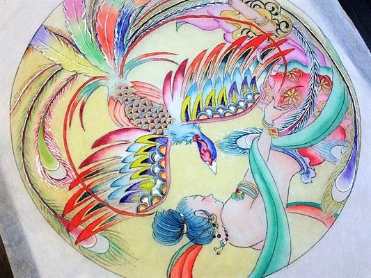 鳳凰と飛天(天女)仏画