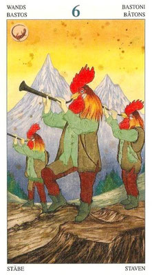 Tarot des animaux seigneurs six de baton