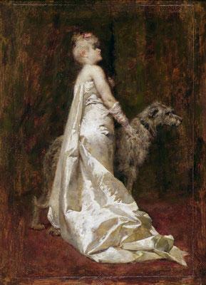 Eugenio Scomparini, Abito bianco e cane (Museo Revoltella)
