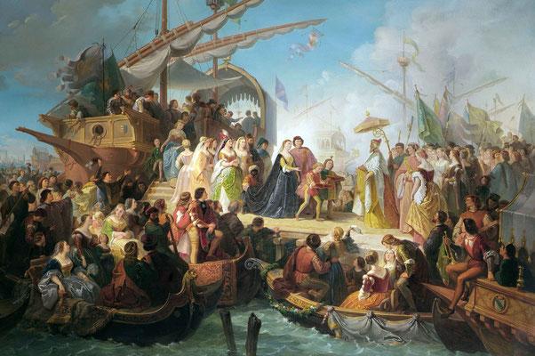 Giuseppe Lorenzo Gatteri, L'arrivo della regina di Cipro  (Museo Revoltella)