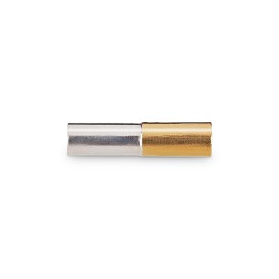 Bild: Handgearbeitete 925er Sterlingsilbermanschettenknopf Stäbchen rund mit aufgelötetem Gold