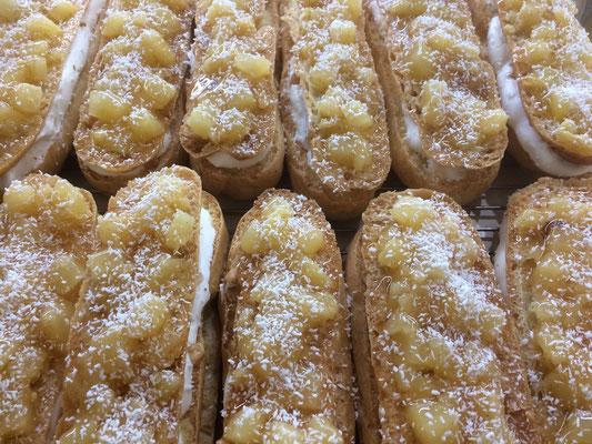 Eclairs noisettes ananas coco de la boulangerie pâtisserie PREISLER à Courcelles-Chaussy