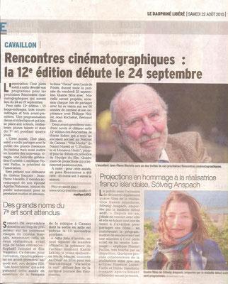 Le Dauphiné Libéré - 22 août 2015
