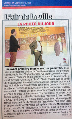 La Provence - Samedi 24 sept. 2016
