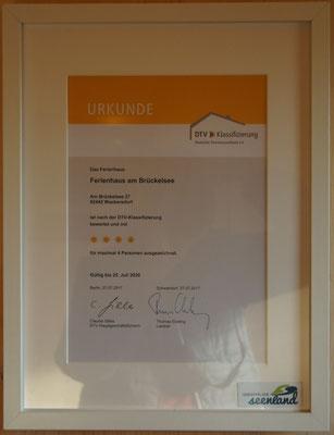 Auszeichnung-DTV-Klassifizierung - Ferienhaus am Brückelsee - Erika Wölfel