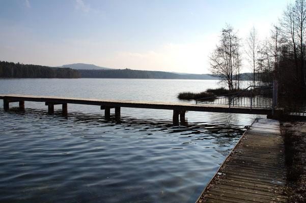 Unser Badestrand am Brückelsee (privat) - 100m vom Haus - Ferienhaus am Brückelsee - Erika Wölfel