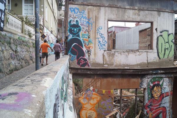 Valparaíso Street Art: Ruinen sind perfekte Orte für Street Art