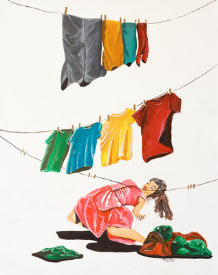 Laundry Limbo, Acrylic Ink on Canvas, 16 x 20, 2017