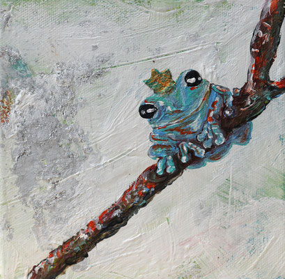 "Frog Queen Before she Croaks, 6"" x 6"", acrylic on canvas, 2014"