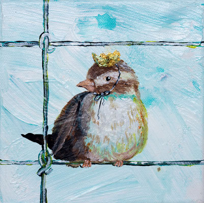 "Sparrow Prince, 6"" x 6"", acrylic on canvas, 2013"
