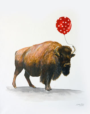 My Heart is a Buffalo with a Balloon, Acrylic Ink on Canvas, 16 x 20, 2017