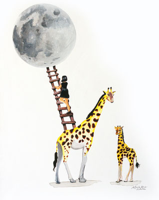 Giraffe Moon, Acrylic Ink on Canvas, 16 x 20, 2017