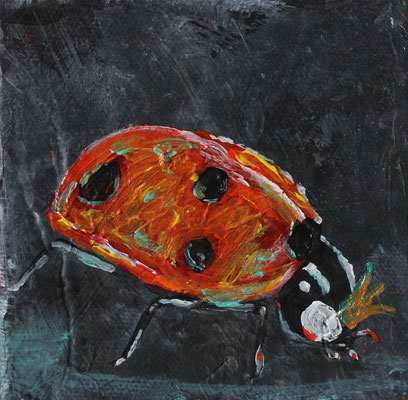 "Ladybug Queen Vanquishes her Foes, 4"" x 4"", acrylic on canvas, 2014"