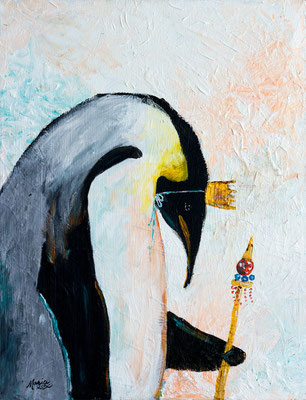 "Sad Penguin King, 14"" x 18"", acrylic on canvas, 2013"