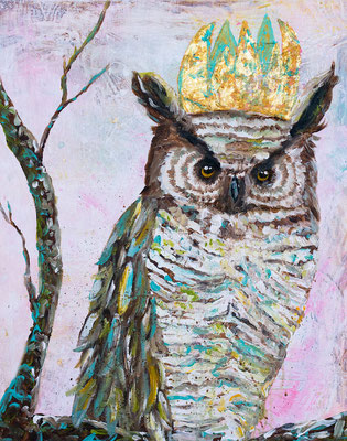 "Owl King Needs Nothing from You, 20"" x 16"", acrylic on canvas, 2013"