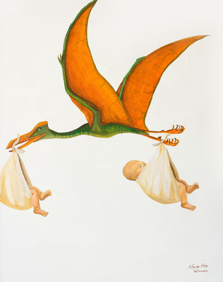 The Children were Delivered via Pterodactyl, as all Children Are, Acrylic Ink on Canvas, 16 x 20, 2017
