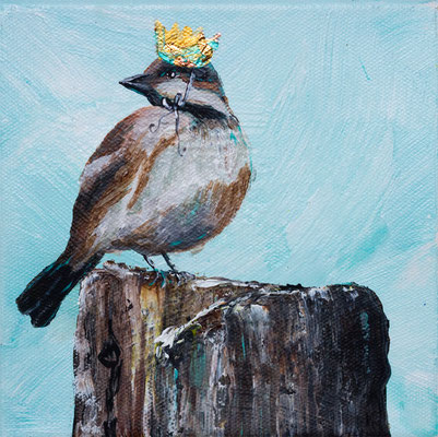 "Sparrow Princess, 6"" x 6"", acrylic on canvas, 2013"