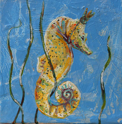 "Seahorse Queen Makes the King Bear Children, 6"" x 6"", acrylic on canvas, 2014"
