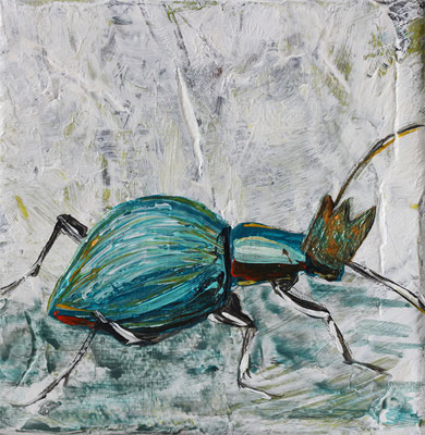 "Beetle Queen, 4"" x 4"", acrylic on canvas, 2014"