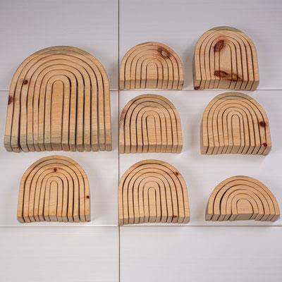 Regenbogen aus Zirbe, sorgt mit seinen ätherischen Ölen für beruhigenden Duft, verschiedene Größen ab 29€