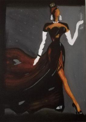 75,- Lady met glas 50x70