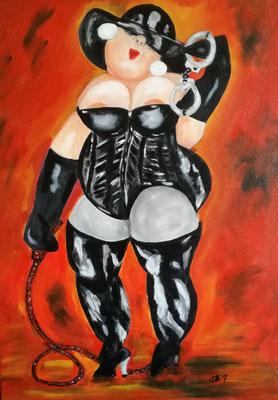 125,- BDSM met een knipoog. Dikke dame in leer met handboeien en zweep 50x70 Acryl
