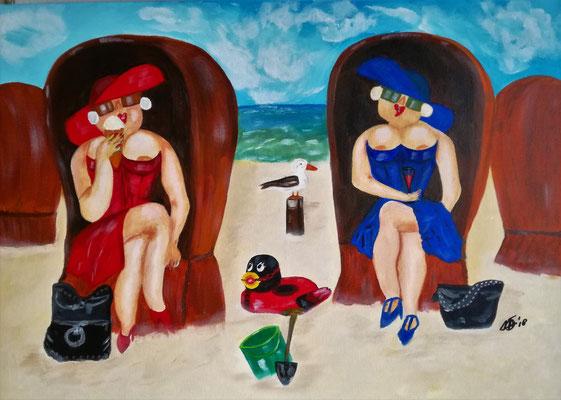 125,-  BDSM met een knipoog. Dames met kinky bad eendje aan het strand. 50x70 Acryl