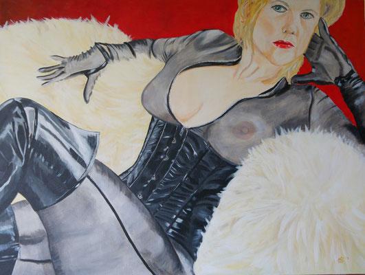 Lady in controle 1250,- Schaamteloos in haar naaktheid straalt ze in haar verleidelijke pose niet alleen schoonheid, maar ook (aantrekkings) kracht uit. Haar kleding is sexy, maar ook super vrouwelijk.  Ze is duidelijk trots op wie ze is . 120x90