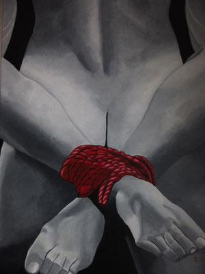 675,-  Innige omhelzing.  Zwart wit schilderij met rode bondage om de enkels.  60x80 3D Acryl