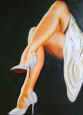 Zomerse benen (privé bezit) Dit schilderij straalt klasse uit en is super vrouwelijk. Door het gebruik van kleur en het mengen van verschillende tinten lijkt het schilderij licht te geven, te stralen.